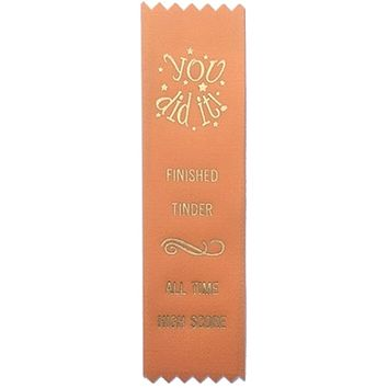 Tinder Finisher Prize Award Ribbon on Gift Card