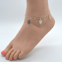Ladies Summer Foot Jewelry Vintage Sexy Gold Double Chain Fatima Hamsa Hand Charm Beach Anklet Feet Bracelet Girls Bijoux AK010