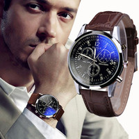 Splendid New Luxury Fashion Faux Leather Men Blue Ray Glass Quartz Analog Watches Casual Cool Watch Brand Men Watches 2016-in Quartz Watches from Watches on Aliexpress.com | Alibaba Group
