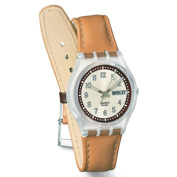 Swatch GE700 Unisex Croissant Chaud Silver Dial Brown Leather Strap Watch