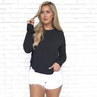 Angelina Jersey Top in Black