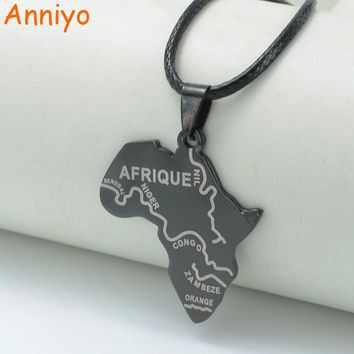Anniyo Map of Africa Balck Pendant Rope 45cm,African Maps Jewelry Necklaces Nigeria,South Africa,Sudan,Ethiopian AFRIQUE #003721