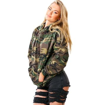 Camouflage Women Long Sleeve Hooded Sweatshirt