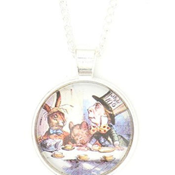 Mad Hatter Tea Party Necklace Silver Tone Alice in Wonderland NP63 Art Print Pendant
