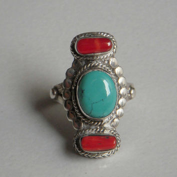 A Sterling Silver Ring / Real Turquoise & Coral Stone Silver Ring / Hand made Carving Silver Ring / Statement Ring.