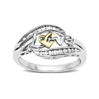 Love Knot Sterling Silver and 14k Yellow Gold Diamond Love Ring (1/10 cttw, I-J Color, I2-I3 Clarity)