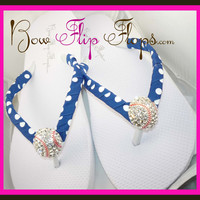 Kansas City Royals Baseball Bling Rhinestone Flip Flops - choose flip flop color and heel height!