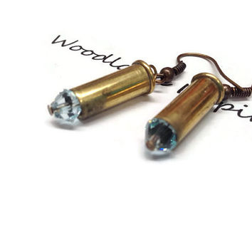 Bullet earrings, bullet jewelry, Cute little .22 caliber brass bullet earrings with Swarovski blue crystal beads