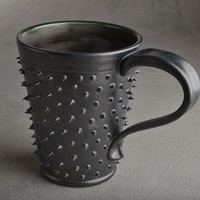 Spiky Mug : Made To Order Black and Clear Black Dangerously Spiky Coffee Mug by Symmetrical Pottery