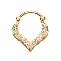Bejewelled Freya Teardrop Septum Clicker