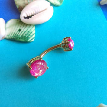 Gold Pink Opal Belly Ring Body Jewelry Navel Jewelry