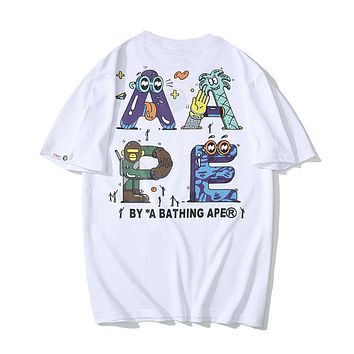 AAPE BAPE Popular Women Men Personality Graffiti Letter Print T-Shirt Top Blouse White