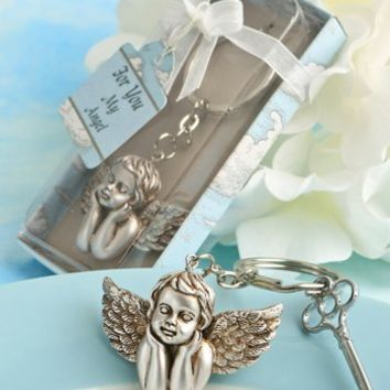 "Angel Themed Cherub Key Chain. Measures 2"" X 1 1/4"" (3 1/2"" X 1 1/4"" with Chain). Crafted From All Metal with a Silver Finish. Package Contains 1."