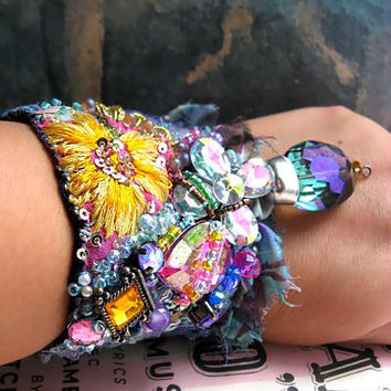Hope Bracelet, Vintage Embroidery, Sparkly, Rainbow, Yellow, Pink, Purple, Blue, Flower, Boho