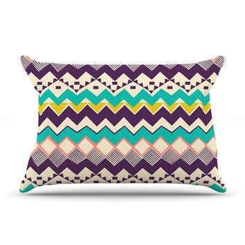 "Louise Machado ""Ethnic Color"" Teal Purple Pillow Case"