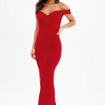 Missguided - Red Bardot Wrap Split Maxi Dress