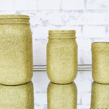 Gold Glitter Mason Jar Set - Gold Baby Shower Decor - Gold Wedding Centerpiece - Gold Mason Jars