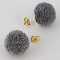 Puff Ball Gray Post Earrings