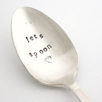Lets Spoon, Hand stamped silver spoon for shabby chic home decor. Stamped silverware by milk and honey