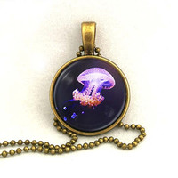 10% SALE Necklace Purple Glowing Jellyfish Pendant Copper Necklaces Gift