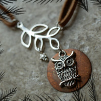 Owl Full Moon Star and Branch Leather Necklace