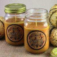 Pumpkin Patch Soy Candle (Pumpkin and Vanilla Cream Scented, Vegan, Orange, No Phthalates, Sustainable) Holiday Christmas Candle, Gift Idea