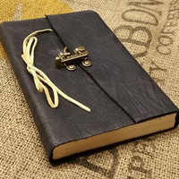 Navy Blue Leather Travel Journal Blank Leather Bound with Brass Latch