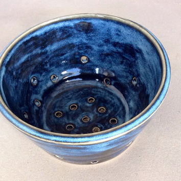 Blue Ceramic Colander/ Berry Bowl