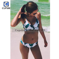 Cupshe Court and Spark Fresh Leaves Bikini Set Women Summer Sexy Swimsuit Ladies Beach Bathing Suit