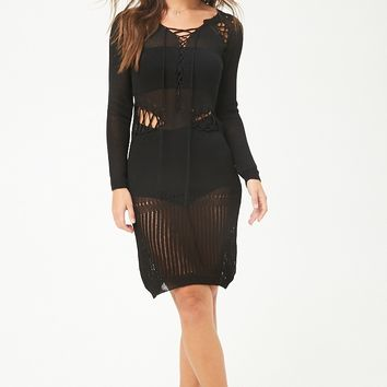 Lace-Up Open-Knit Dress