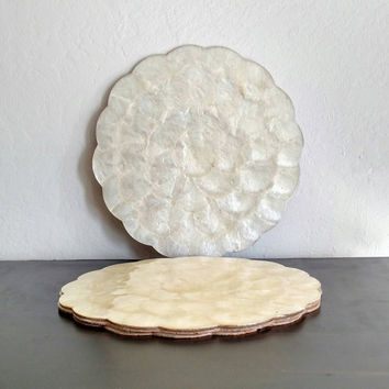 Vintage Natural Capiz Shell Placemats | Ivory | Scalloped edges | Made in the Philippines | Beach House | Cottage Decor | Shabby Chic |