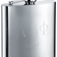 Greek Letters Engraved 6 oz Fraternity Flask - Free Engraving