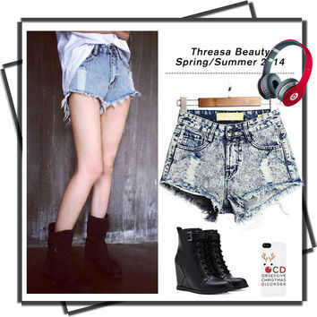 Irregular High Waist Denim Short Jeans = 4815066180