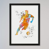 Soccer Player Watercolor Print Sport Soccer illustration Art Poster Kid's Room decor Giclee Wall Decor Wall Hanging