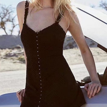 Black Lace Strap V-Neck Mini Tank Dress