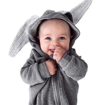 Warm Bunny Ear Hooded Baby Cotton Infant Rompers