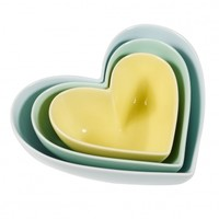 Set of Three Minty Heart Bowls