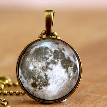 Full Moon Pendant In antique bronze Moon Necklace space, celestial, luna, planet, moon phase, 25mm 1 inch