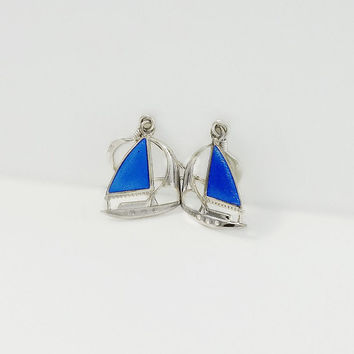 Sailboat Dangle Earrings - Sterling Sailboat Earrings - Silver and Blue Nautical Earrings - Silver Boat Earrings - Blue Sailboat Earrings