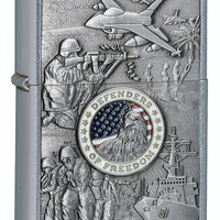 Zippo Joined Forces Emblem Street Chrome Lighter