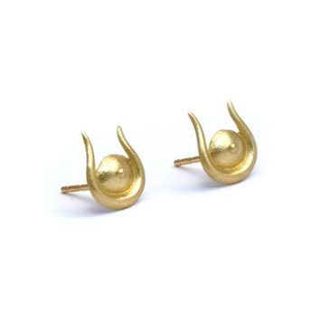 Delicate Gold Studs, Horns Gold Studs, Solid Gold Stud Earrings, Horus Earrings, 14K Gold Studs, Gold Egyptian Isis, 14K Post Earrings