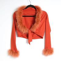 70s Marabou Feather Cropped Shirt - Feather Cuffs and Collar - Burnt Orange Shirt - Cropped Tie Up Shirt - 70s Clothing - 70s Long Sleeve