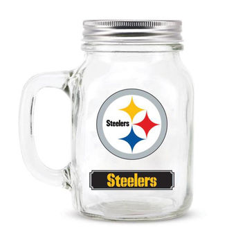 Pittsburgh Steelers NFL Mason Jar Glass With Lid