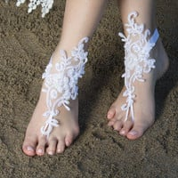 Beach wedding Barefoot Sandals White Beaded Pearl Hand process Lace Barefoot Sandals, Bridal Lace Sandals, Bridal Lace Shoes, French lace
