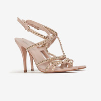 Pura Lopez EXCLUSIVE Gold Studded High Heel Sandal-Shoes-Sale-Categories- IntermixOnline.com