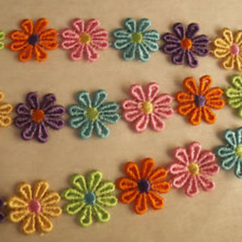 Daisy Flower Trim, Multicolor Embroidered Trim, Rainbow Trim, Applique, Boho