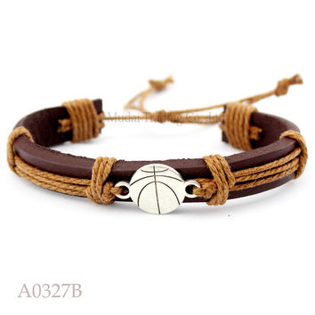 (Men's Fashion) Basketball Adjustable Leather Cuff Bracelet for Men & Women Friendship Bangle Punk Casual Wristband Jewelry