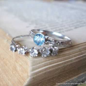 Blue Topaz Gemstone ring Handmade Promise Ring by jorgensenstudio