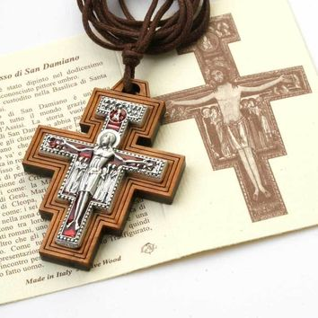 San Damiano Wood Cross Crucifix Necklace Pendant Men Women Italy 754207935800