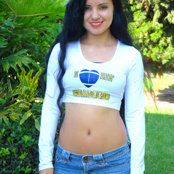 I Love My Chargers White Long Sleeve Crop Top